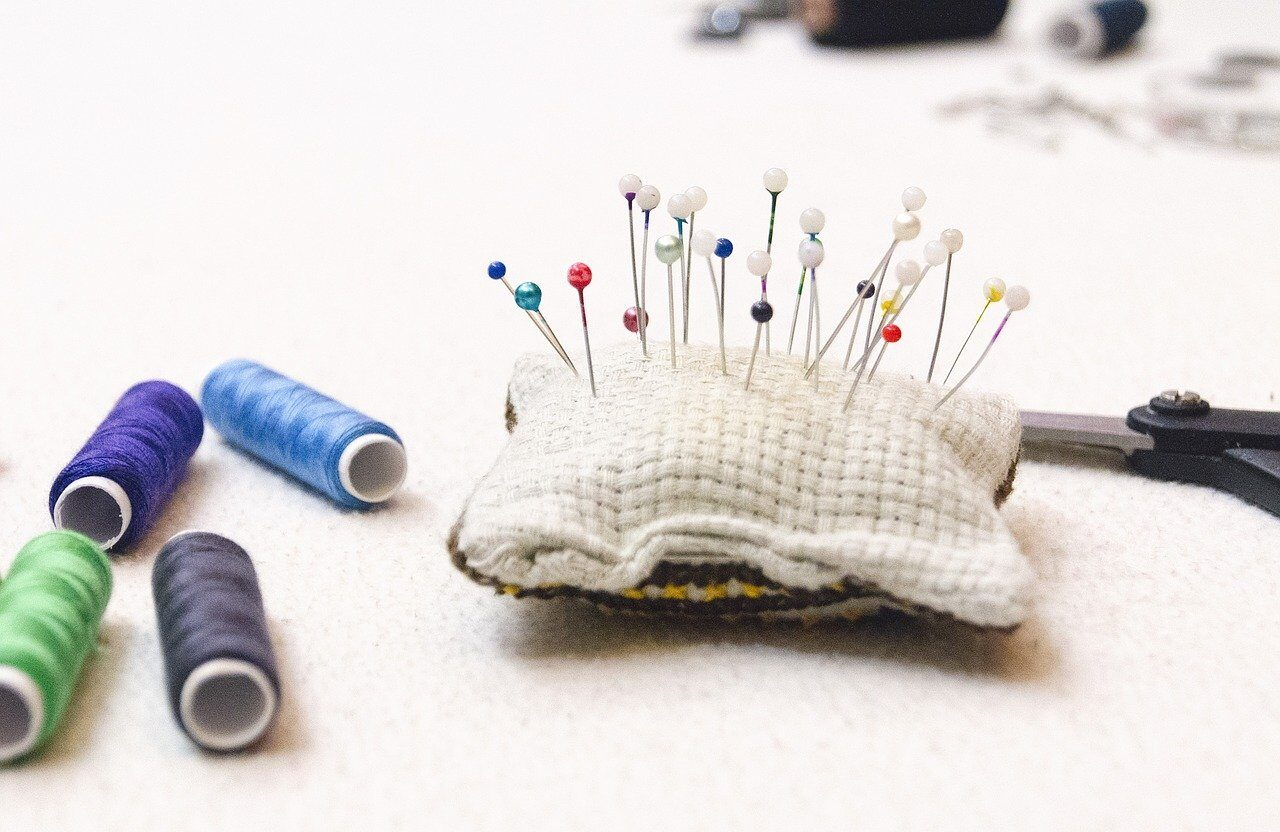 pins, thread, sewing